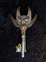 Steampunk Skeleton Key Pin ( Cuatro Wing) by CrossTheHatter