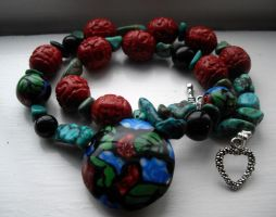 red and turquoise necklace by merpagigglesnort