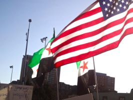 Syrian and American flags by mayaa199313
