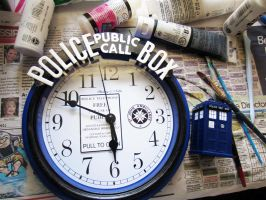 from $5 clock from Walmart to TARDIS-themed clock by Rainbowbubbles