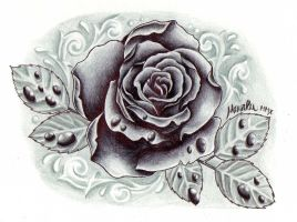 black and grey rose with drops by ZeroMarla