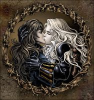Alucard and Richter kiss color by Candra
