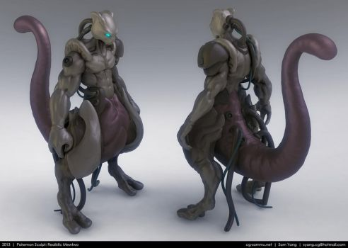 Pokemon Sculpt: Realistic Mewtwo 2013 by cg-sammu