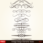 Vintage Calligraphic Decorative Elements Vector by 123freevectors