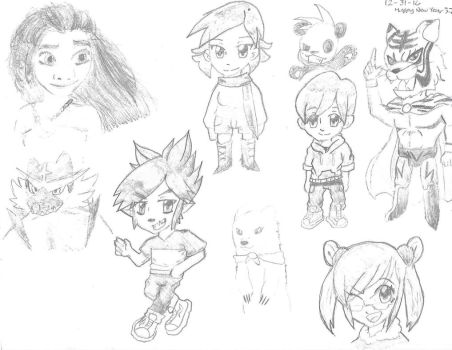 New Years Sketches by okamiJR