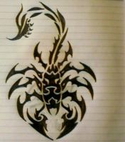 Scorpio Tribal Tattoo design by mindsetteler