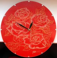 Rose Clock Engrave(comission) by Cerebralis