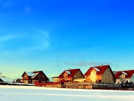 Village and winter sun reflections by patrickjobst