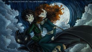 Merida and Hiccup - Dangerous Fly - COLORED by AelitaC