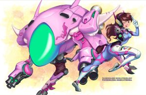 D.VA and her Mech by ParkerLeif