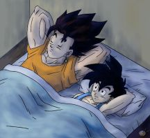 Dragon Ball - Gohan 115 (vegeto , Gohan sleeping) by songohanart