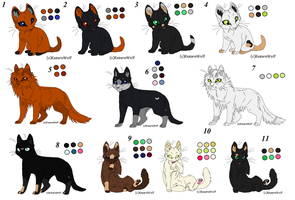 Adoptables Cats by Ciaratheresa