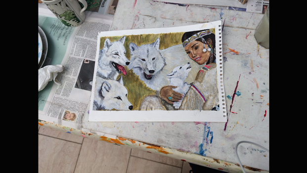 Native American Girl With Wolves by wutdahek