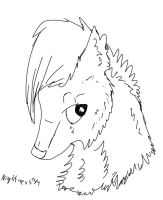 WOLF HEAD LINEART by CanineCriminal