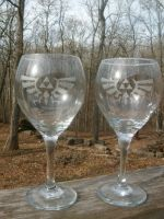 ZELDA Wine Glasses- Crest by ZombieBunnySlaya