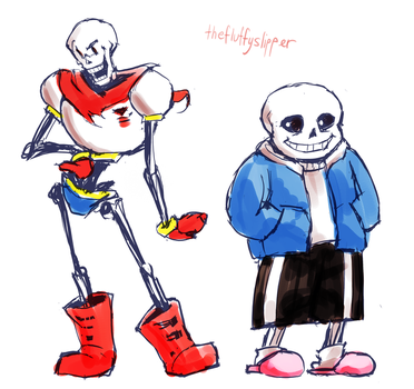 Papyrus and Sans by fluffySlipper