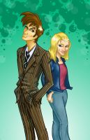 Doctor and Rose. coloured by louisesaunders