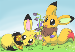 Eevees and flowers by pichu90