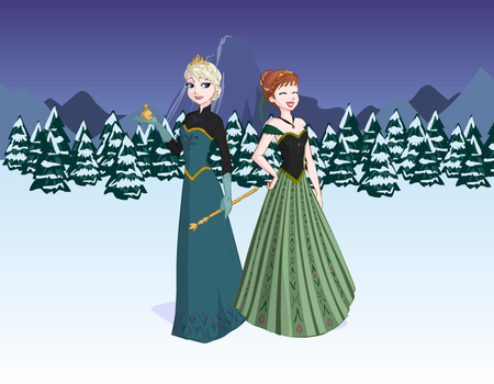 Anna And Elsa Cornation Day Outfits by OliviaWhitley12
