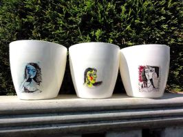 Flower pot Pablo Picasso series by naraosart