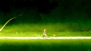 Colin riding on a bike with Charly. by PascalCampion
