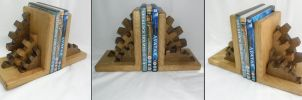 Steampunk style Bookends by Bikerbloke