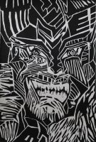 Expressive Potrait - Woodcut by Heartblood-Arts