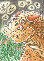 ACEO ATC Dragon and glowing butterfly by Siriliya