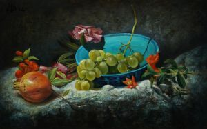 Turquoise bowl, flowers and fruits by marcheba