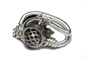 Steampunk Ring Silver Machine by CatherinetteRings