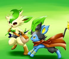 Leafeon and Luxio Pokemon by BiyomonCuty