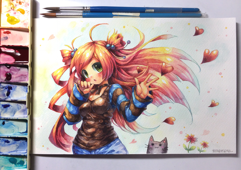 Peachmaiden watercolor by emperpep