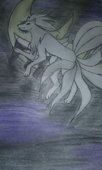 Ninetails before the Soul Eater Moon by LordHuiai
