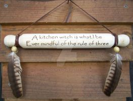 Kitchen witch feather leather rolling pin by WOODEWYTCH