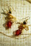 Raffia dice beaded earrings by emilieleger