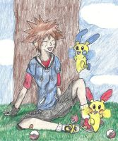 Sora as a Pokemon Trainer by Black-Angel-of-Mercy