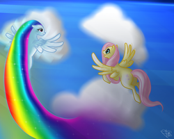 Flying with Rainbow Dash by AntharesMK