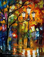 Lights in the night by Leonid Afremov by Leonidafremov