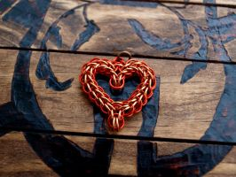 Orange and Copper Heart by LockandKeyCurios