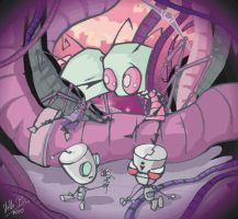Tak and Zim, Gir and Mimi by zatr