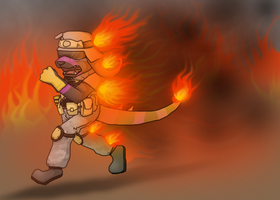 Pardio on fire!! ~ Comission for Ratce8386 by RIOPerla