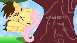 Wallpaper Animal and Fluttershy hug by Barrfind