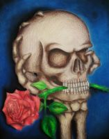 Imaginative Skull and Rose Drawing by xXxslipknot771xXx
