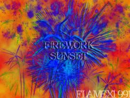 firework sunset by flamex1991