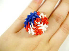 American Flag Duct Tape Rose Ring - 2013 by QuietMischief