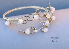 Bridal Moonstone beaded Wire Arm Bracelet by IanirasArtifacts