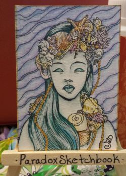 Shell Mermaid ATC by ParadoxSketchbook