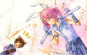 Cat and bunny by tamisan-mio