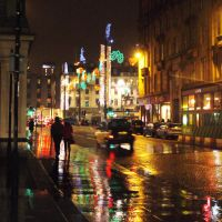 Christmas lights in the rain by Blue-eyed-Kelpie