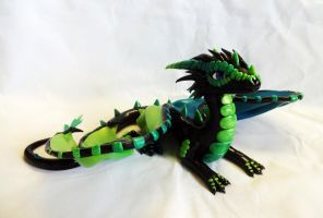 Blue and Green Dragon Sculpture by ByToothAndClaw
